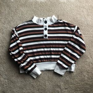 Wild Fable Striped Cropped Sweatshirt
